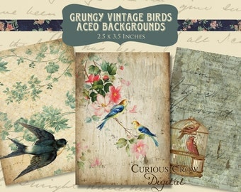 Vintage Birds Digital Collage Sheet - 2.5 x 3.5 Inches - ACEO ATC Tags Cards  INSTANT Printable Download
