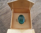 Vintage Sterling Silver Ring with Malachite Stone Size US 9
