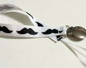 Pacifier Holder Mustache Grosgrain  Ribbon Pacifier Clip