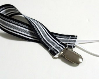 Black White Ribbon Pacifier Clip Pacifier Holder