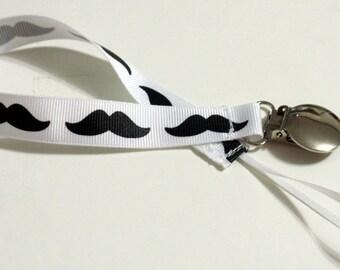 Pacifier Holder Mustache Grosgrain  Ribbon Pacifier Clip