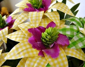 Gingham Fabric Flowers - Summery Yellow and Green (7 Stems)