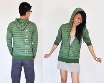 Vegan Clothing : Unisex Green-Grey Shirt Hoodie (Size M / L / XL)