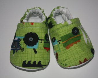 Baby shoes Tractor shoes farm baby shoes baby booties  slippers newborn toddler shoes toddler slippers