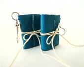 Wee Mini Journal Earrings-Teal-Jewelry-Small Books-Poet