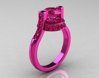Modern Italian 14K Pink Gold 1.5 CT Pink Sapphire Wedding Ring, Engagement Ring AR119-14KPGPS