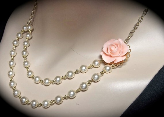"Pearl necklace -  Coral rose - Cabochon - 3"" backdrop - Super feminine and Pretty - Bridal jewelry-"