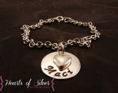 Hand Stamped Mommy Jewelry- Sterling Silver- Charm Bracelet- ID Bracelet