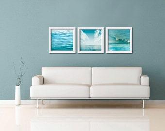 Nautical decor teal art print set abstract beach art water waves ocean photography fine art coastal prints 8x8 10x10 12x12 16x16 inch  blue