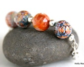 Agate stone bracelet, orange, blue, cream, sterling silver beads, silver chain and sterling lobster claw