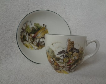 Vintage Weatherby Royal Falcon Ironstone Cup and Saucer, English Village