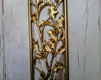 Hollywood Regency Gold Wall Art by Homco - Mid Century Floral Home Decor, Vintage Wall Décor, Home Decor, Gold Home Decor Retro Wall Hanging