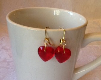 Earrings, Vintage ,Red Lucite Faceted Hearts