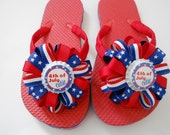 4th of July Patriotic flip flops with matching hair bow