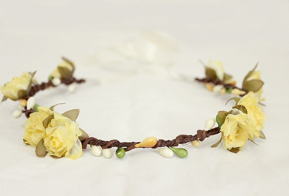 Yellow Roses Floral Crown. Bohemian. Festival. Flower Crown. Woodland. Flower Girl. Rustic Wedding. Fall Tiara, Autumn Wedding.