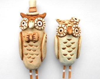 Neutral Owls in Love Wedding cake topper Rustic Wedding Ivory Linen and Tan