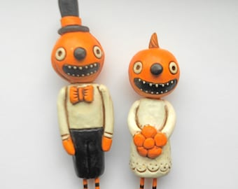 Pumpkin Heads in Love Halloween Wedding Cake Topper