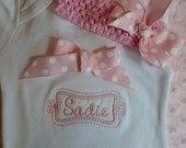 "Personalized Baby Girl one piece (tm), bodysuit  or  ruffle edge T- Shirt, ""take home outfit"" with matching headband and bow"