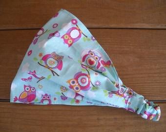Girls Headband Fabric Headband Kids Summer Fashion Accessories Girl Headwrap Headscarf Bandana in Light blue with Owl print