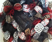 Custom Listing for Roxane, Funky Mesh Black and Red Wreath