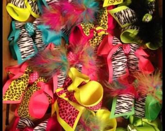 Animal print hairbows free shipping large bows