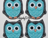 Charcoal Grey Owl with Brite Blue Belly Felt Embroidered Embellishment Applique Clippie Cover SET of 4