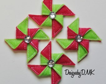 Whirly Pinwheels on Lime Green & Dark Pink Felt Embroidered Embellishment Clippie Cover SET of 4