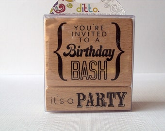 You're Invited to a Birthday Bash 2 piece set Wooden Mounted Rubber Stamping Block DIY cards, tags, Invitations, and Scrapbooking