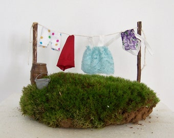 Fairy Garden Miniature Clothesline with Clothes Gnome Garden Accessory DIY Kit Seen in Vintage Gardens magazine, Wash Line Miniature Clothes