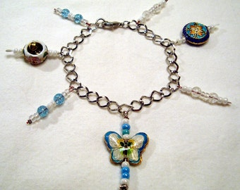 Rainbow Cloisonne Dangle Blue Butterfly Bead Bracelet. B067