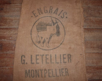 Antique jute bag hessian burlap bag sack donkey stamp Montpellier France vintage linens rustic primitive fabric sewing upholstery patchwork
