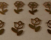 Brass Filigree Flower Embellishments - Decorations - Tulips and Flowers - Quantity 12
