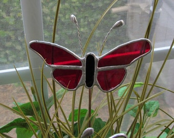 Scarlet Red Water Glass Butterfly - Stained Glass 5 Piece- Garden - Potted Plant Stake