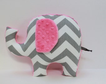 Chevron elephant pillow, ELLE, pink and grey gray nursery, stuffed animal plushie, sensory toy, baby shower gift, modern decor