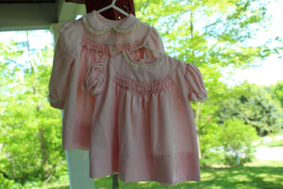 Polly Flinders pink dress and coat with rosebud embroidery