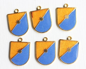 Blue and Orange Shield Charms - Gold (6x)