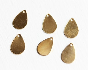 Gold Drop Charms, Drop Findings, Brass Drop Charms, Teardrop Charms, Small Drop Charms (6x)