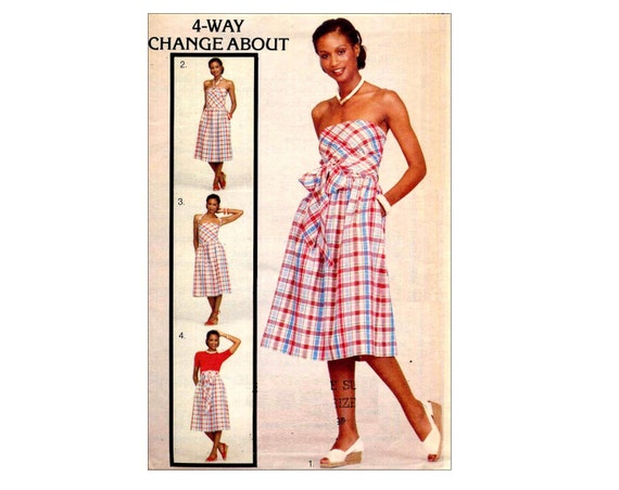 Disco 70s Butterick 5362 Multi Wrap Dress or Skirt Vintage Sewing Pattern Change About Halter Sundress Waist 28