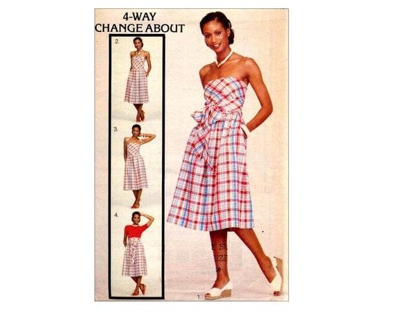 Disco 70s Butterick 5362 Multi Wrap Dress or Skirt Vintage Sewing Pattern Change About Halter Sundress Waist 28