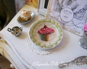 Cherry Cupcake with Green Plate for Dollhouse