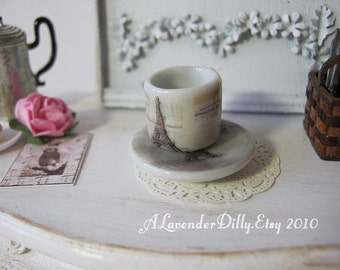 French Ephemera Coffee Mug and Plate for Dollhouse