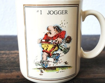 Vintage Coffee Mug, Runner Cartoon Collectible Cup, Humor Office Pencil Holder, Signed Gary Patterson Jogger