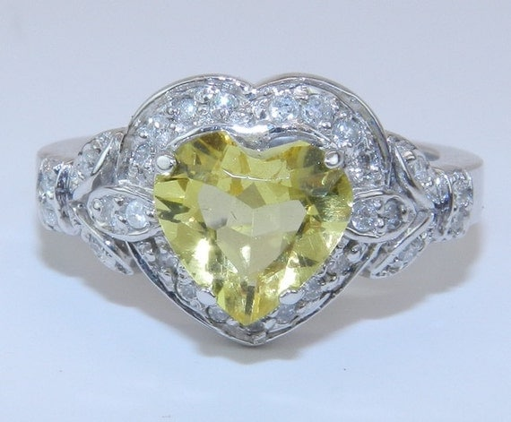 SALE Diamond and Heart Shape Yellow Lemon Quartz Halo Engagement Ring Size 6.75 14K White Gold