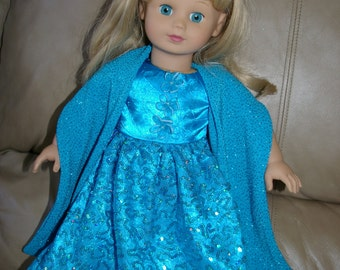 Pretty blue party dress with shawl