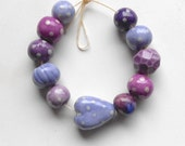 Handmade Ceramic Bead Set with Heart in Lilac Pink Purple and Grape - Bohulleybeads