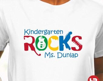 Kindergarten Teacher TShirt - Kindergarten Rocks Personalized Teacher Shirt Back to School Teacher Shirt - teacher appreciation gift