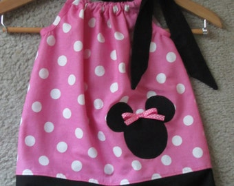 Custom made pillowcase dress minnie mouse black pink polka dot free hair bow 3mos,6mos,9mos,12mos,18mos,24mos,2t,3t,4t,5t,6
