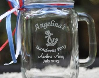 Nautical Bachelorette Party Personalized Mason Jars