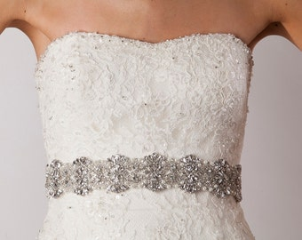 "Bridal crystal rhinestone and pearl bridal sash - 18"""