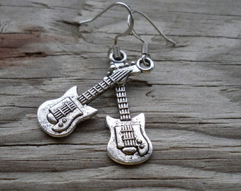 Antique Silver Electric Guitar Charm Earrings - Surgical Steel Wires